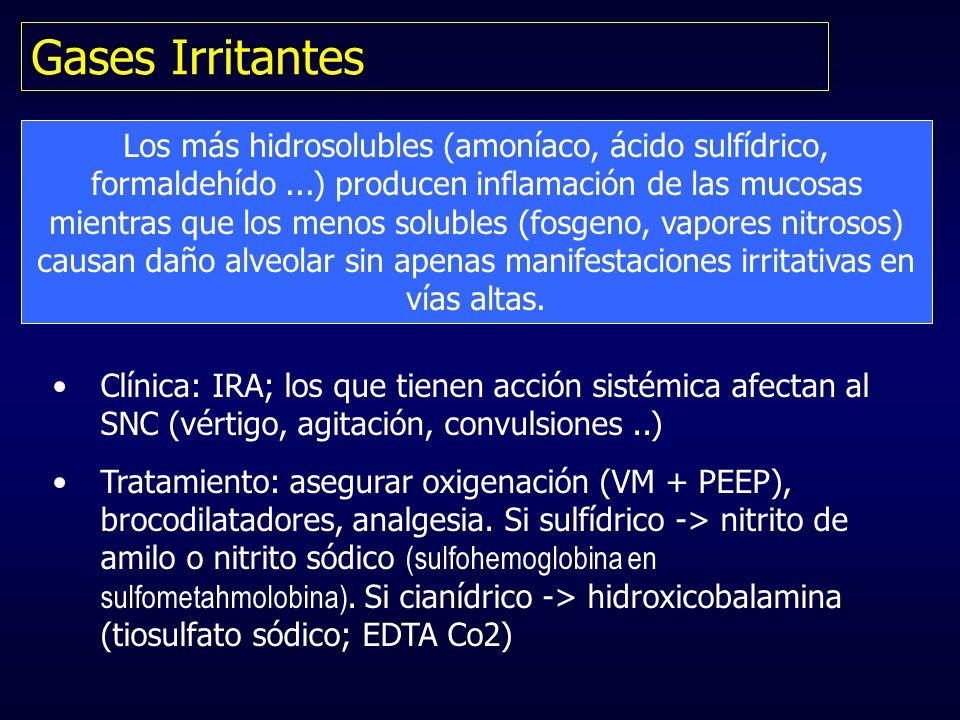 Gases Irritantes Los más hidrosolubles (amoníaco, ácido sulfídrico, formaldehído...) producen inflamación de las mucosas mientras que los menos solubl