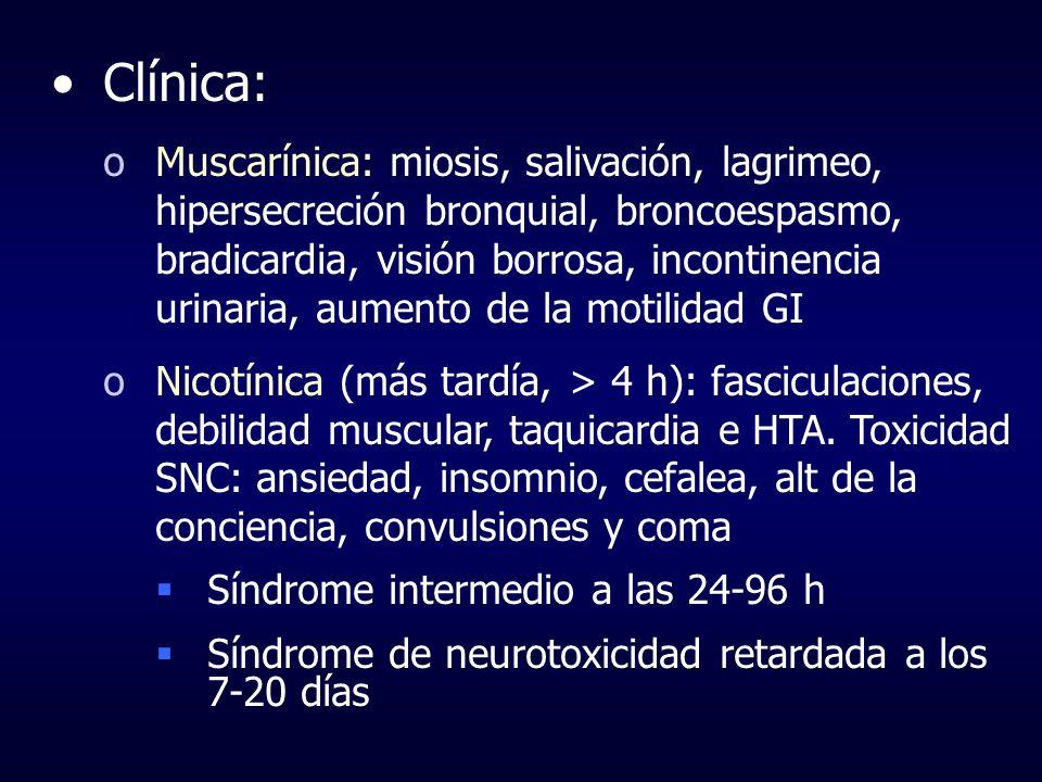 Clínica: oMuscarínica: miosis, salivación, lagrimeo, hipersecreción bronquial, broncoespasmo, bradicardia, visión borrosa, incontinencia urinaria, aum