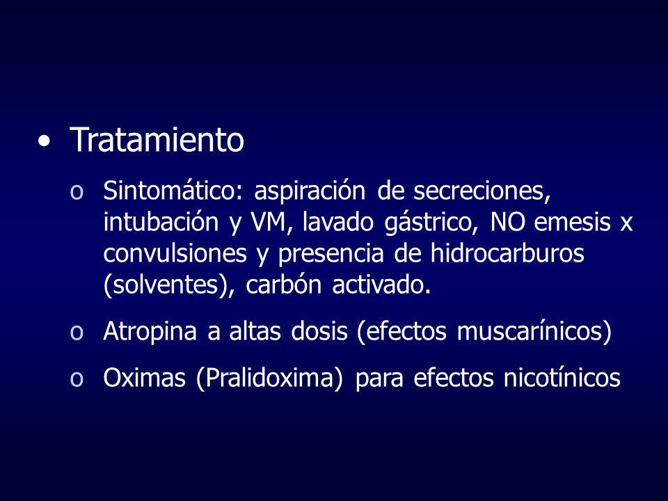 Tratamiento oSintomático: aspiración de secreciones, intubación y VM, lavado gástrico, NO emesis x convulsiones y presencia de hidrocarburos (solvente