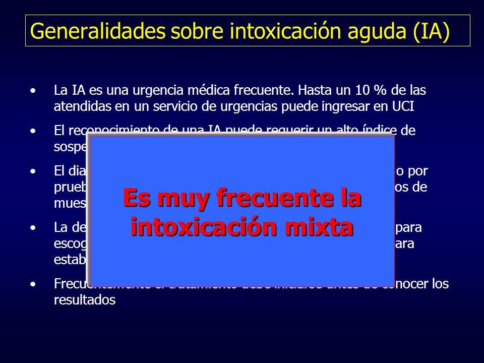 Generalidades sobre intoxicación aguda (IA) La IA es una urgencia médica frecuente. Hasta un 10 % de las atendidas en un servicio de urgencias puede i