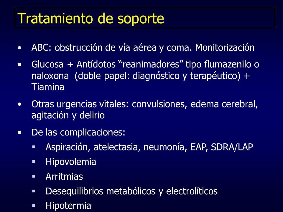 Tratamiento de soporte ABC: obstrucción de vía aérea y coma. Monitorización Glucosa + Antídotos reanimadores tipo flumazenilo o naloxona (doble papel: