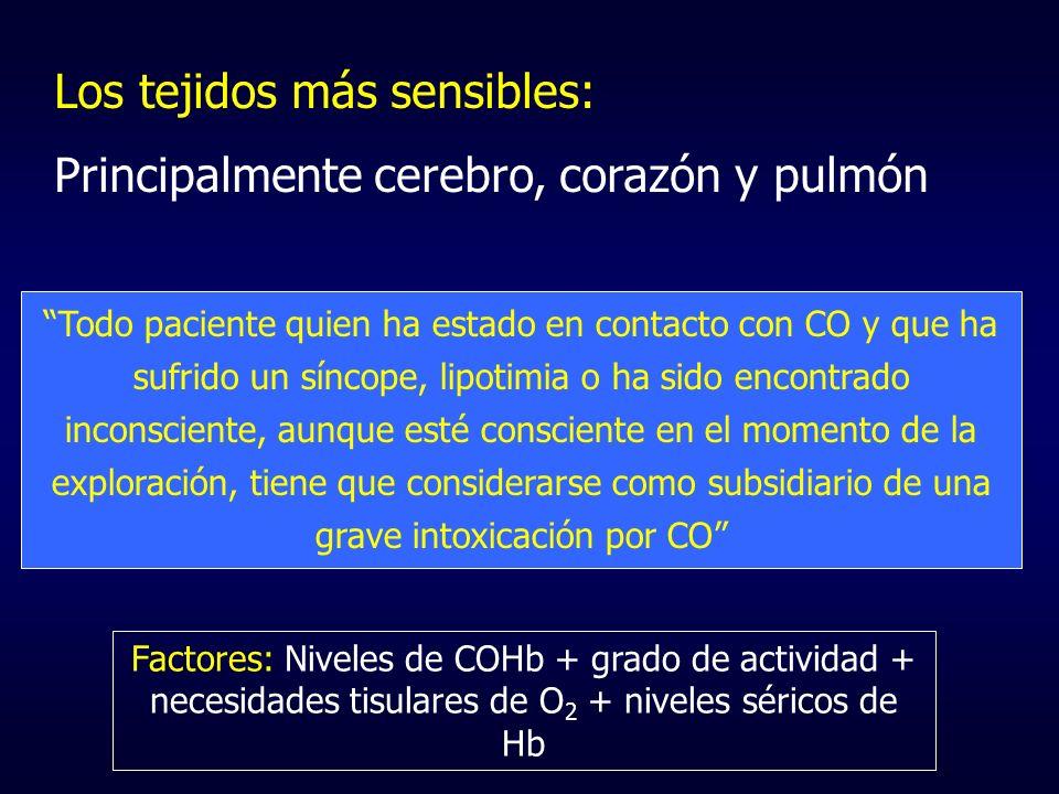 Los tejidos más sensibles: Principalmente cerebro, corazón y pulmón Todo paciente quien ha estado en contacto con CO y que ha sufrido un síncope, lipo