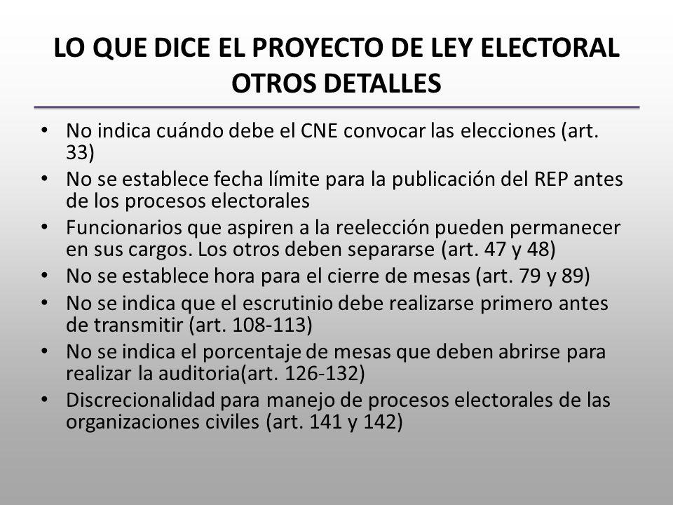 LO QUE DICE EL PROYECTO DE LEY ELECTORAL OTROS DETALLES No indica cuándo debe el CNE convocar las elecciones (art.