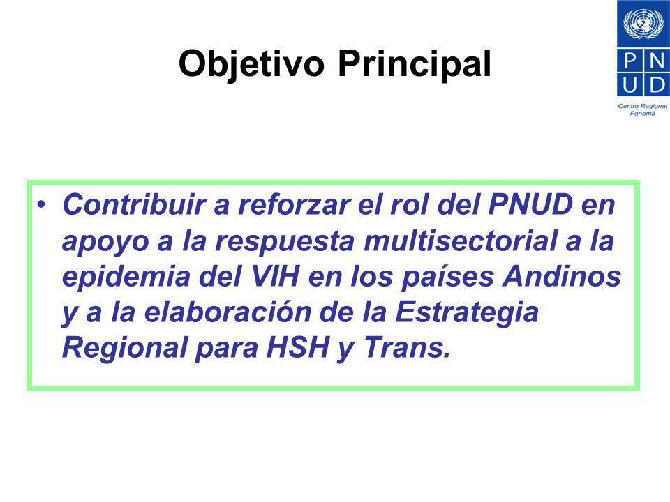 Objetivo Principal Contribuir a reforzar el rol del PNUD en apoyo a la respuesta multisectorial a la epidemia del VIH en los países Andinos y a la ela