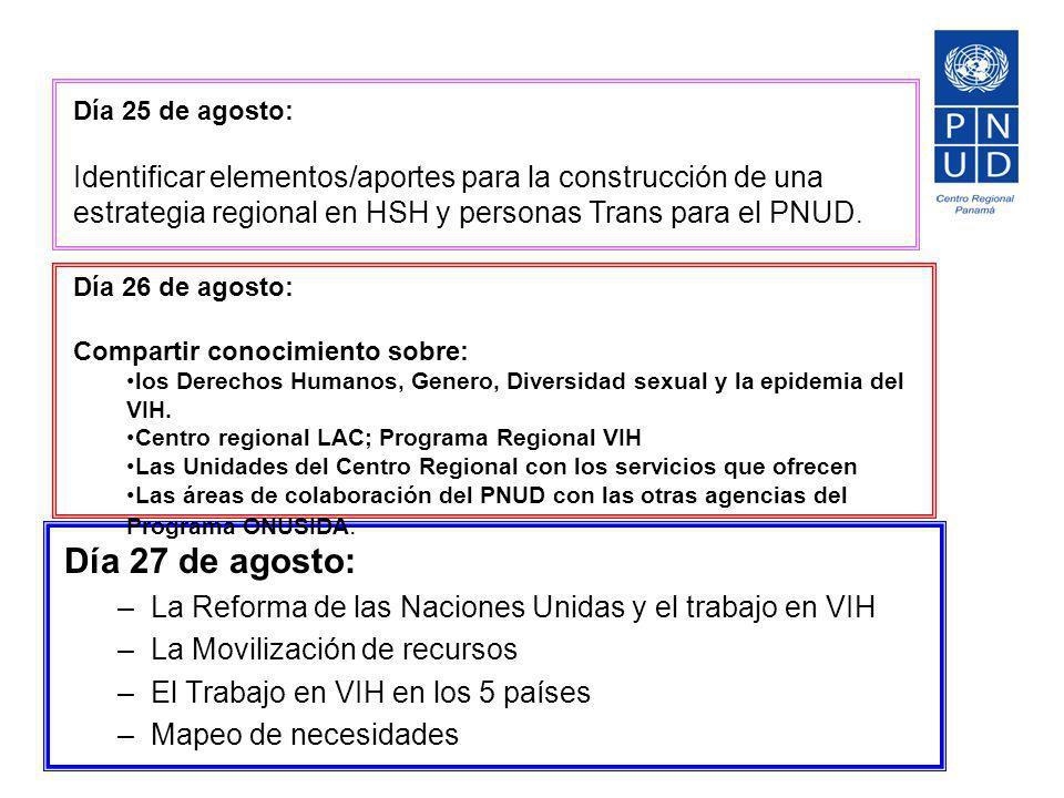 Día 27 de agosto: –La Reforma de las Naciones Unidas y el trabajo en VIH –La Movilización de recursos –El Trabajo en VIH en los 5 países –Mapeo de nec