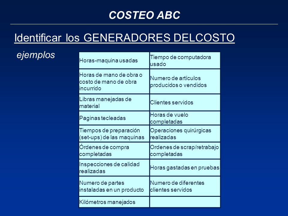COSTEO ABC Identificar los GENERADORES DELCOSTO Horas-maquina usadas Tiempo de computadora usado Horas de mano de obra o costo de mano de obra incurri