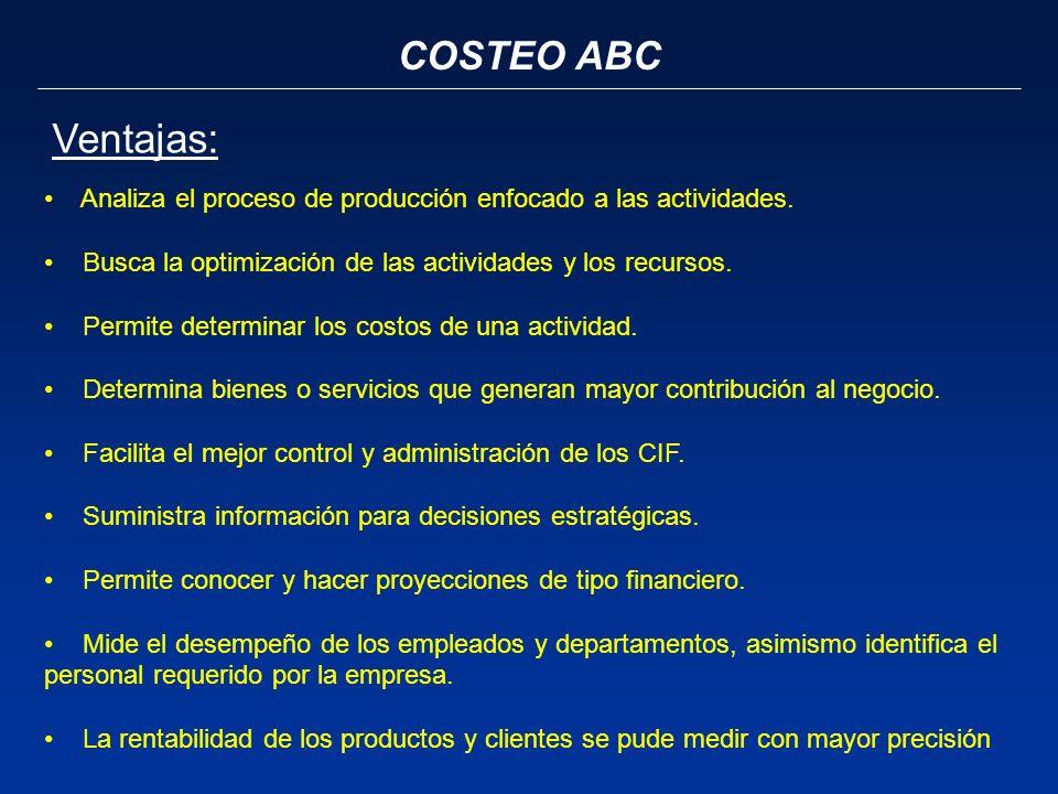 COSTEO ABC Ventajas: Analiza el proceso de producción enfocado a las actividades. Busca la optimización de las actividades y los recursos. Permite det
