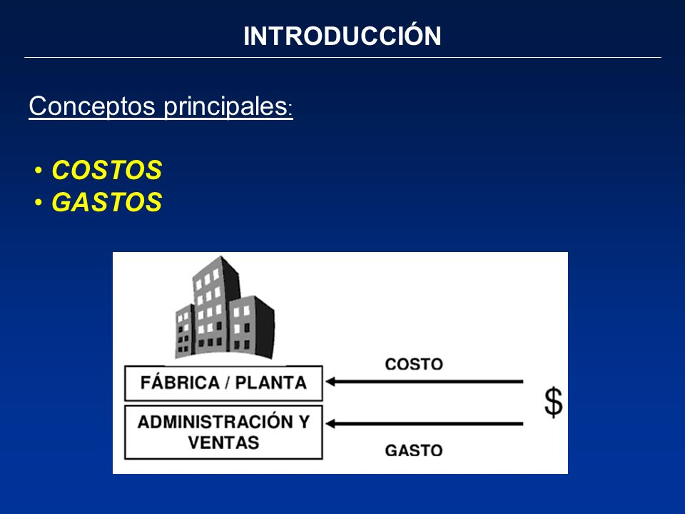 INTRODUCCIÓN Conceptos principales : COSTOS GASTOS