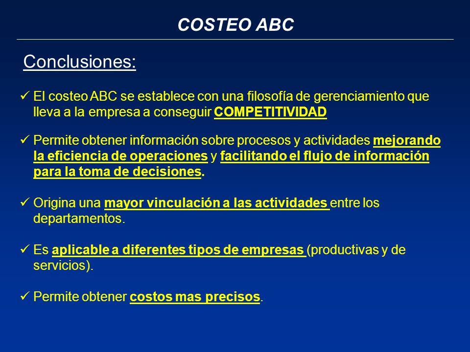 COSTEO ABC Conclusiones: El costeo ABC se establece con una filosofía de gerenciamiento que lleva a la empresa a conseguir COMPETITIVIDAD Permite obte