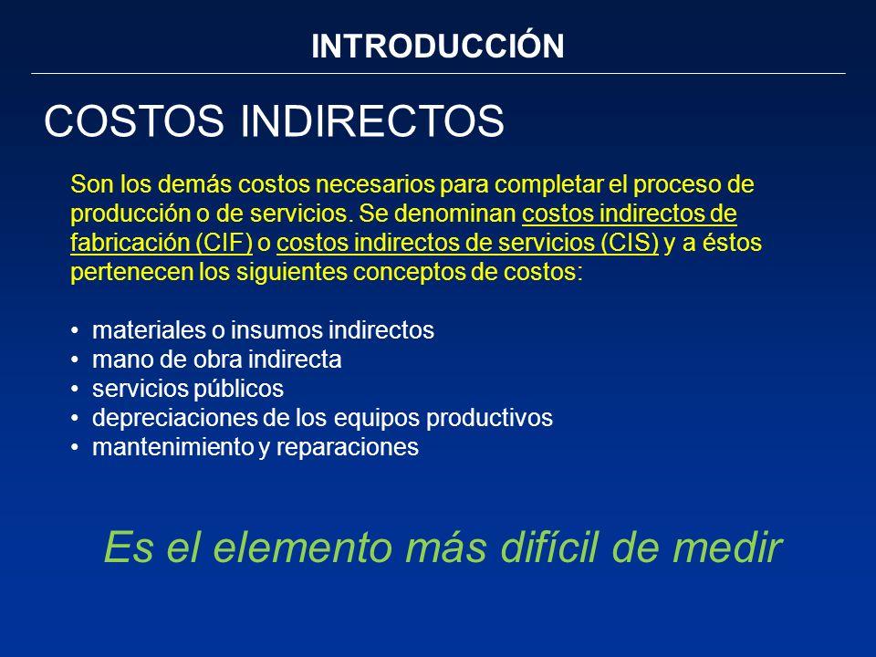 INTRODUCCIÓN COSTOS INDIRECTOS Son los demás costos necesarios para completar el proceso de producción o de servicios. Se denominan costos indirectos