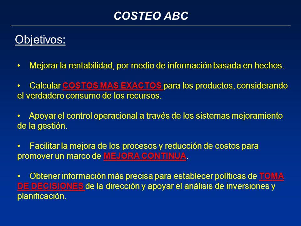 COSTEO ABC Objetivos: Mejorar la rentabilidad, por medio de información basada en hechos. COSTOS MAS EXACTOS Calcular COSTOS MAS EXACTOS para los prod