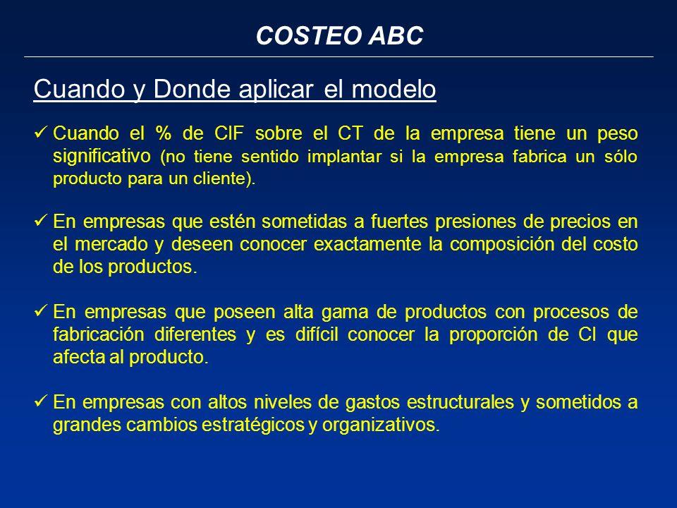COSTEO ABC Cuando y Donde aplicar el modelo Cuando el % de CIF sobre el CT de la empresa tiene un peso significativo (no tiene sentido implantar si la