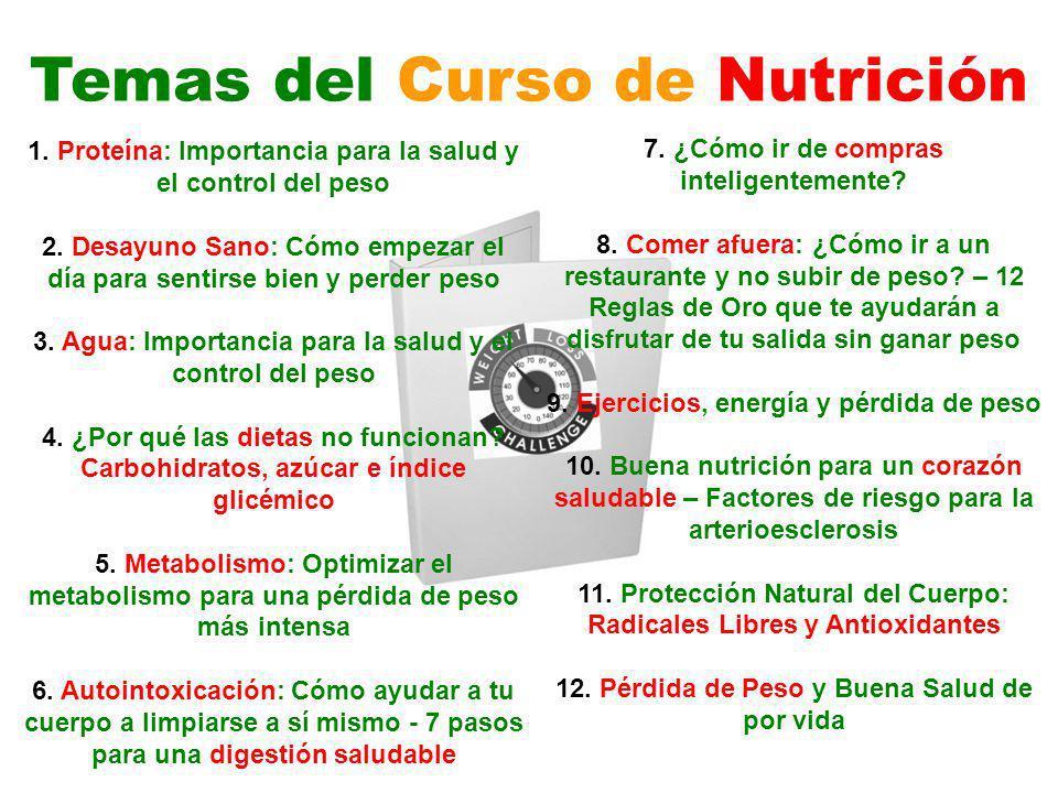 Temas del Curso de Nutrición 1. Proteína: Importancia para la salud y el control del peso 2. Desayuno Sano: Cómo empezar el día para sentirse bien y p