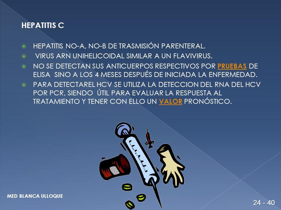HEPATITIS C HEPATITIS NO-A, NO-B DE TRASMISIÓN PARENTERAL.