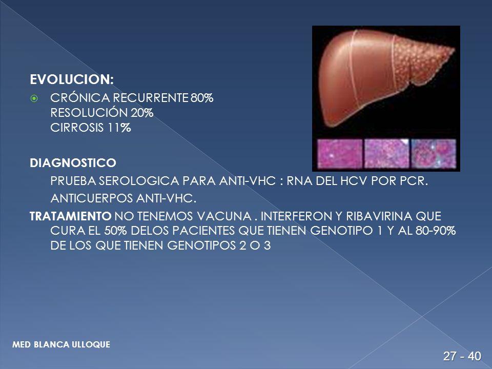 EVOLUCION: CRÓNICA RECURRENTE 80% RESOLUCIÓN 20% CIRROSIS 11 % DIAGNOSTICO PRUEBA SEROLOGICA PARA ANTI-VHC : RNA DEL HCV POR PCR.