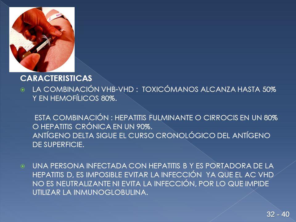 CARACTERISTICAS LA COMBINACIÓN VHB-VHD : TOXICÓMANOS ALCANZA HASTA 50% Y EN HEMOFÍLICOS 80%.