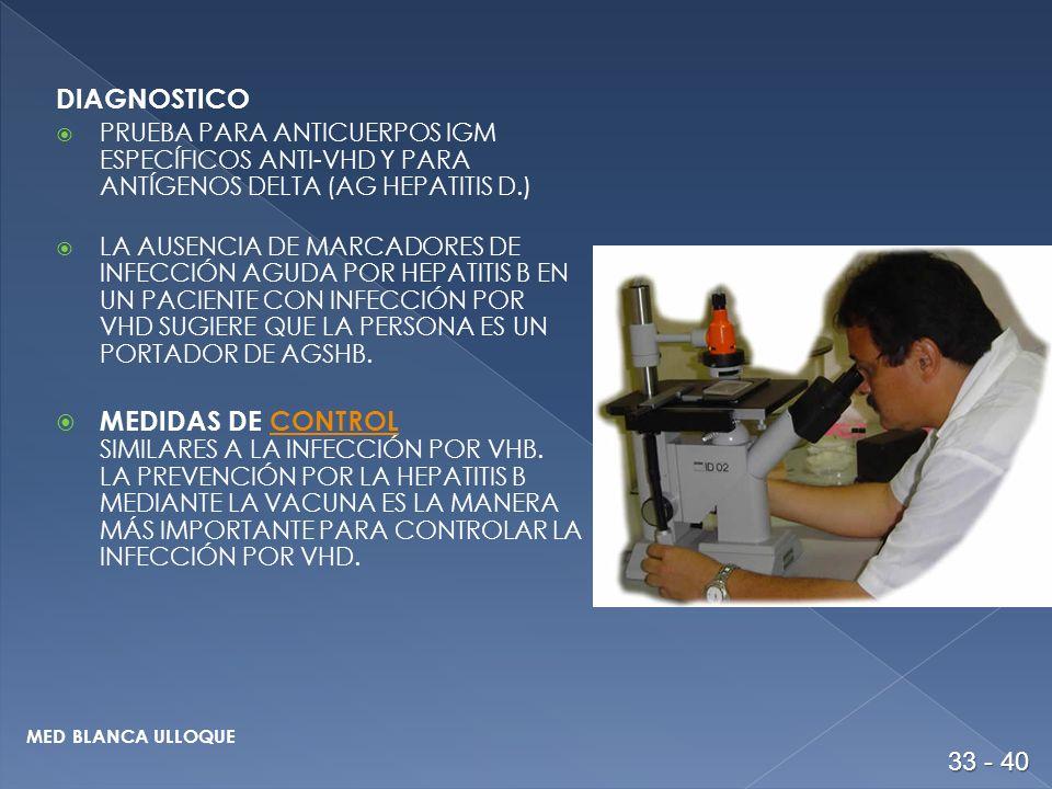 DIAGNOSTICO PRUEBA PARA ANTICUERPOS IGM ESPECÍFICOS ANTI-VHD Y PARA ANTÍGENOS DELTA (AG HEPATITIS D.) LA AUSENCIA DE MARCADORES DE INFECCIÓN AGUDA POR HEPATITIS B EN UN PACIENTE CON INFECCIÓN POR VHD SUGIERE QUE LA PERSONA ES UN PORTADOR DE AGSHB.