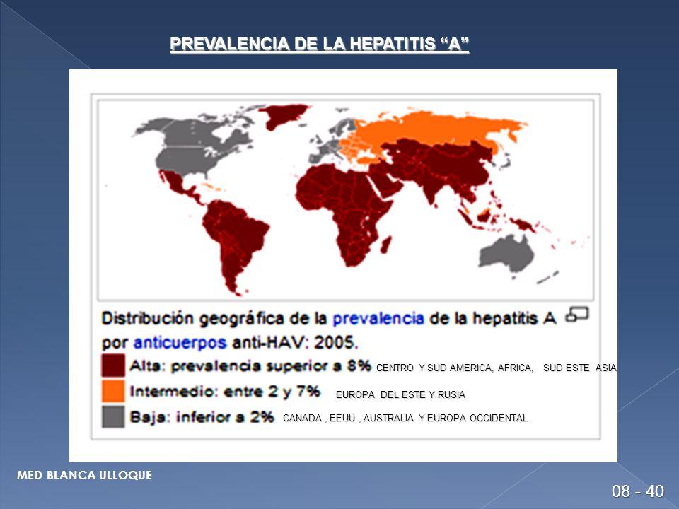 PREVALENCIA DE LA HEPATITIS A CENTRO Y SUD AMERICA, AFRICA, SUD ESTE ASIA EUROPA DEL ESTE Y RUSIA CANADA, EEUU, AUSTRALIA Y EUROPA OCCIDENTAL 08 - 40 MED BLANCA ULLOQUE