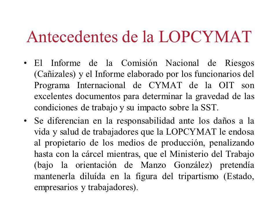 Antecedentes de la LOPCYMAT El Informe de la Comisión Nacional de Riesgos (Cañizales) y el Informe elaborado por los funcionarios del Programa Interna