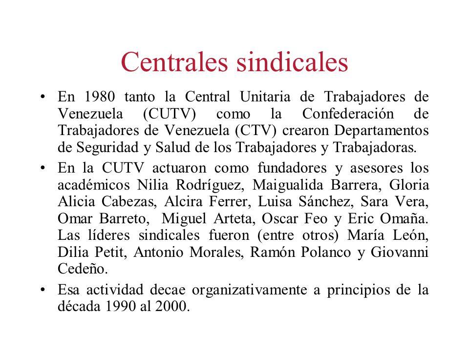 Centrales sindicales En 1980 tanto la Central Unitaria de Trabajadores de Venezuela (CUTV) como la Confederación de Trabajadores de Venezuela (CTV) cr