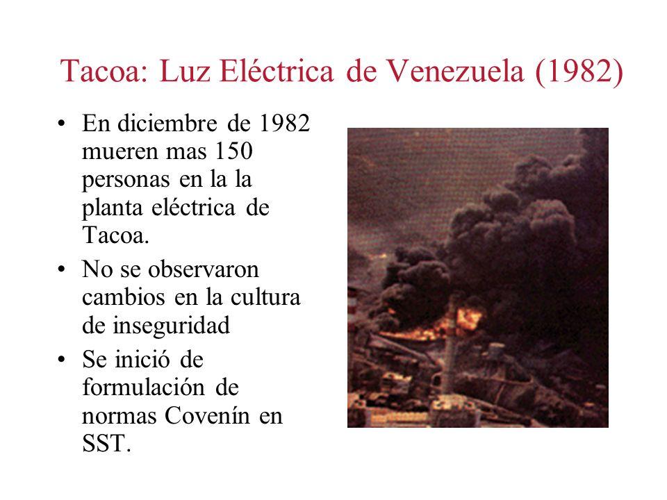 Tacoa: Luz Eléctrica de Venezuela (1982) En diciembre de 1982 mueren mas 150 personas en la la planta eléctrica de Tacoa. No se observaron cambios en