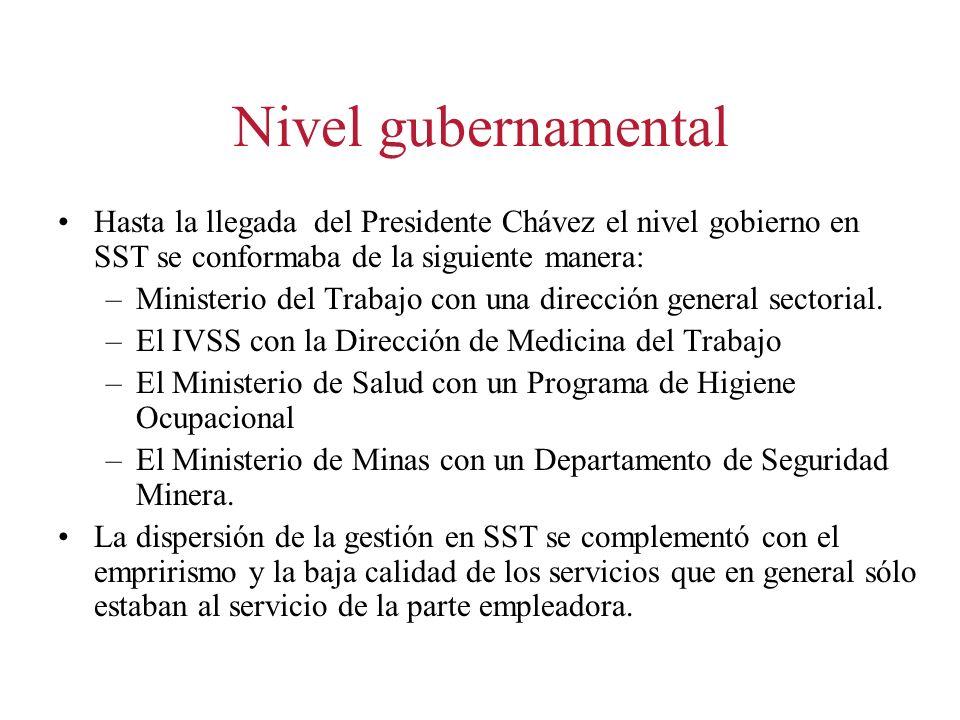 Nivel gubernamental Hasta la llegada del Presidente Chávez el nivel gobierno en SST se conformaba de la siguiente manera: –Ministerio del Trabajo con