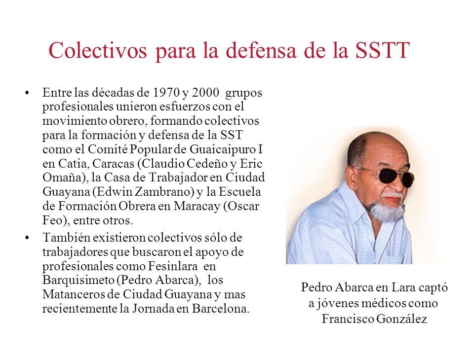 Colectivos para la defensa de la SSTT Entre las décadas de 1970 y 2000 grupos profesionales unieron esfuerzos con el movimiento obrero, formando colec