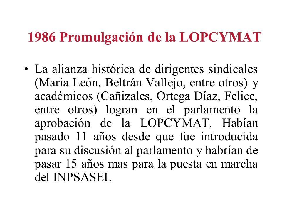 1986 Promulgación de la LOPCYMAT La alianza histórica de dirigentes sindicales (María León, Beltrán Vallejo, entre otros) y académicos (Cañizales, Ort