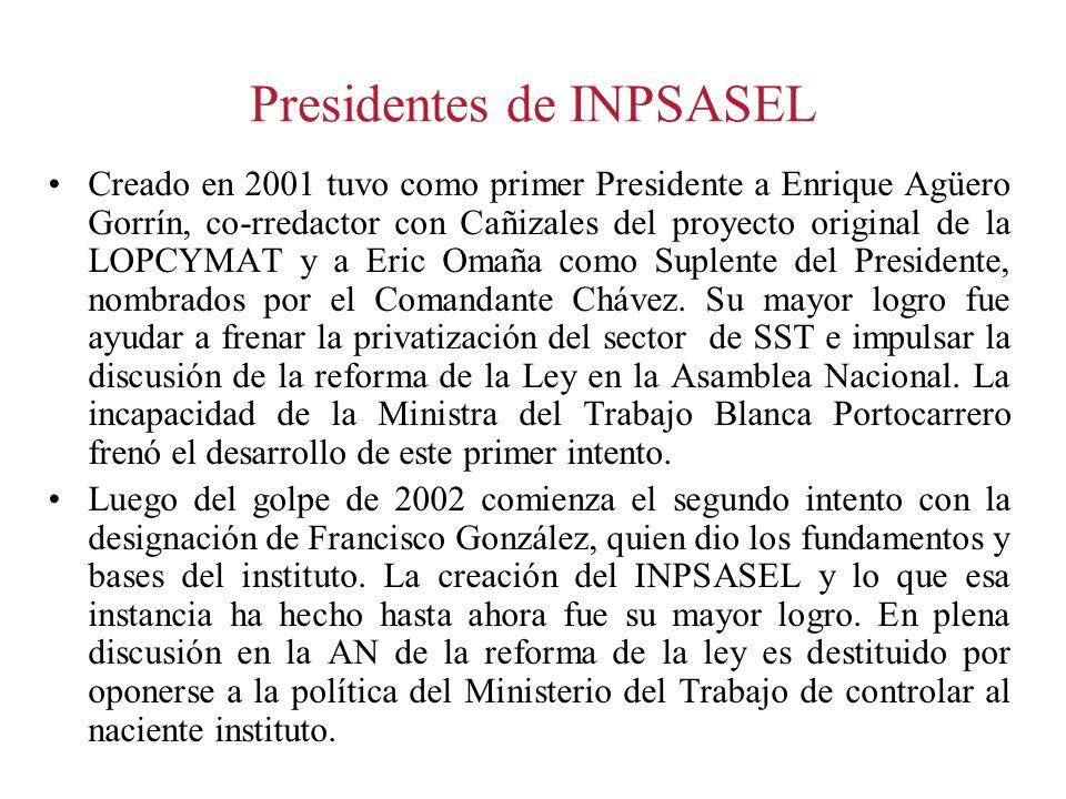 Presidentes de INPSASEL Creado en 2001 tuvo como primer Presidente a Enrique Agüero Gorrín, co-rredactor con Cañizales del proyecto original de la LOP