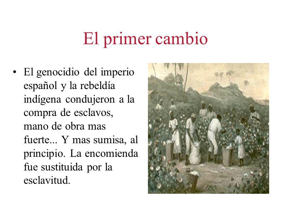 El primer cambio El genocidio del imperio español y la rebeldía indígena condujeron a la compra de esclavos, mano de obra mas fuerte... Y mas sumisa,