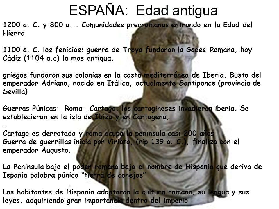 ESPAÑA: Edad antigua 1200 a. C. y 800 a.. Comunidades prerromanas entrando en la Edad del Hierro 1100 a. C. los fenicios: guerra de Troya fundaron la