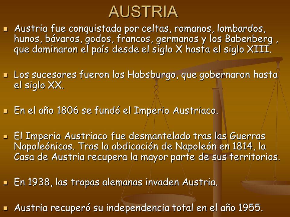 AUSTRIA Austria fue conquistada por celtas, romanos, lombardos, hunos, bávaros, godos, francos, germanos y los Babenberg, que dominaron el país desde