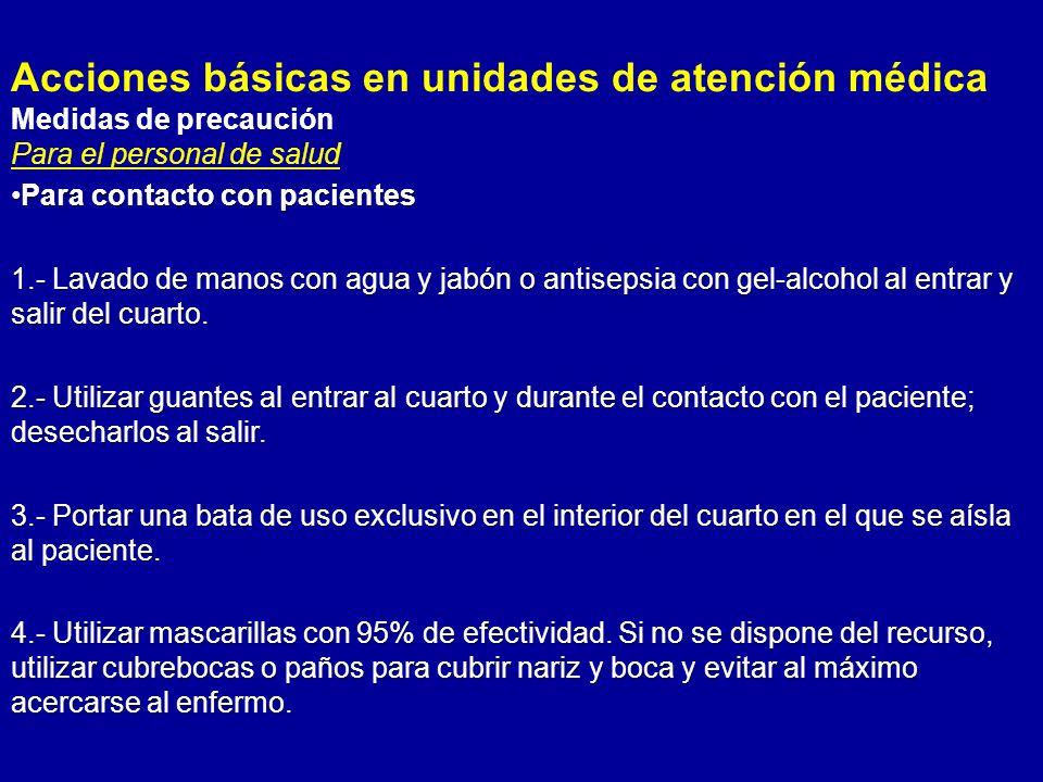 Acciones básicas en unidades de atención médica Medidas de precaución Para el personal de salud Para contacto con pacientesPara contacto con pacientes