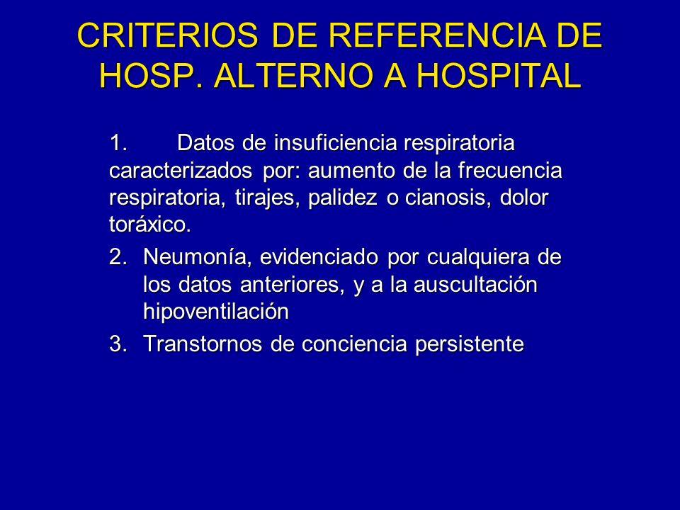 CRITERIOS DE REFERENCIA DE HOSP. ALTERNO A HOSPITAL 1.Datos de insuficiencia respiratoria caracterizados por: aumento de la frecuencia respiratoria, t