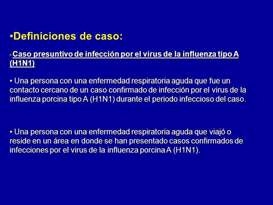 Definiciones de caso: Caso presuntivo de infección por el virus de la influenza tipo A (H1N1) Caso presuntivo de infección por el virus de la influenz