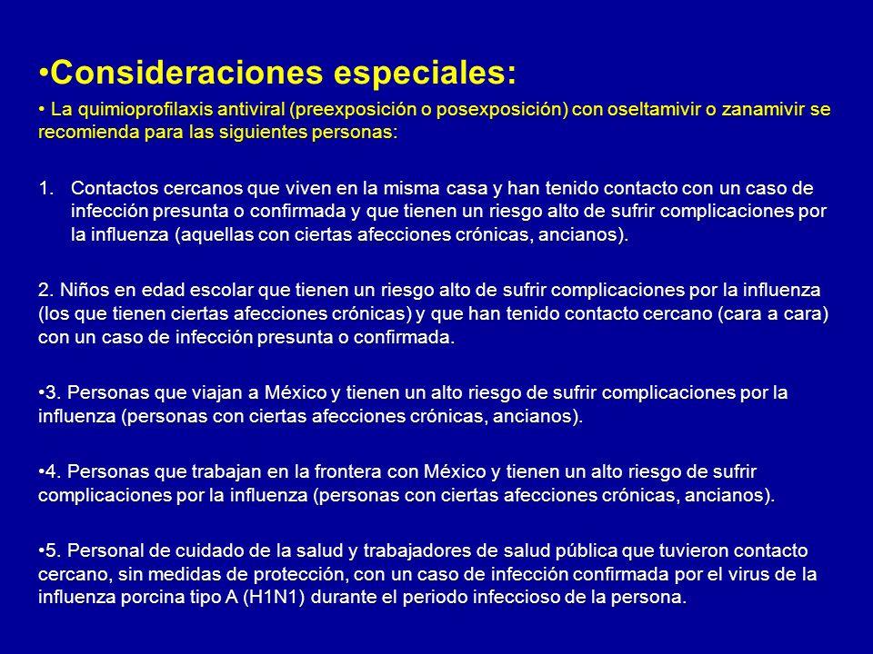 CARACTERISTICAS DE LA INFLUENZA PORCINA Transmisión De humano a humano Prevención Evitar contacto con personas enfermas.
