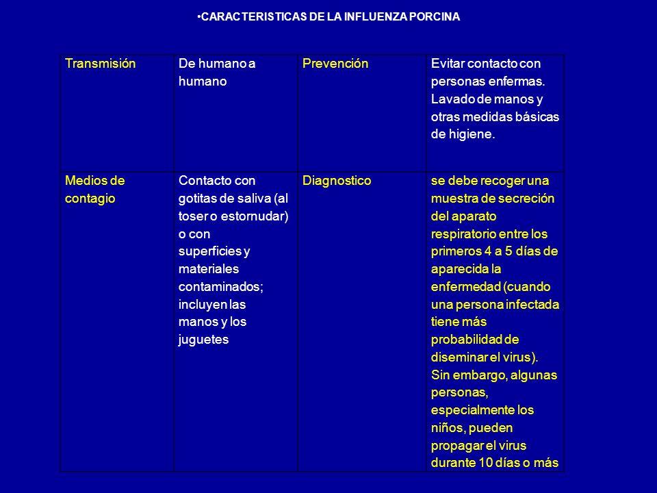 CARACTERISTICAS DE LA INFLUENZA PORCINA Transmisión De humano a humano Prevención Evitar contacto con personas enfermas. Lavado de manos y otras medid
