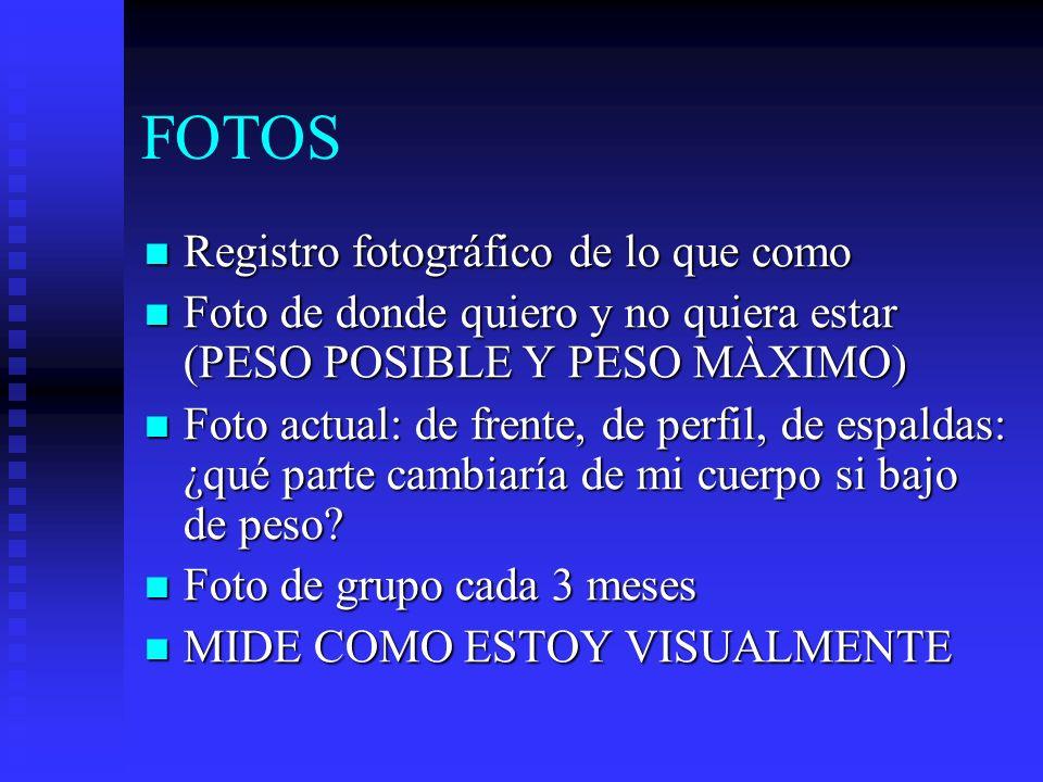 FOTOS Registro fotográfico de lo que como Registro fotográfico de lo que como Foto de donde quiero y no quiera estar (PESO POSIBLE Y PESO MÀXIMO) Foto
