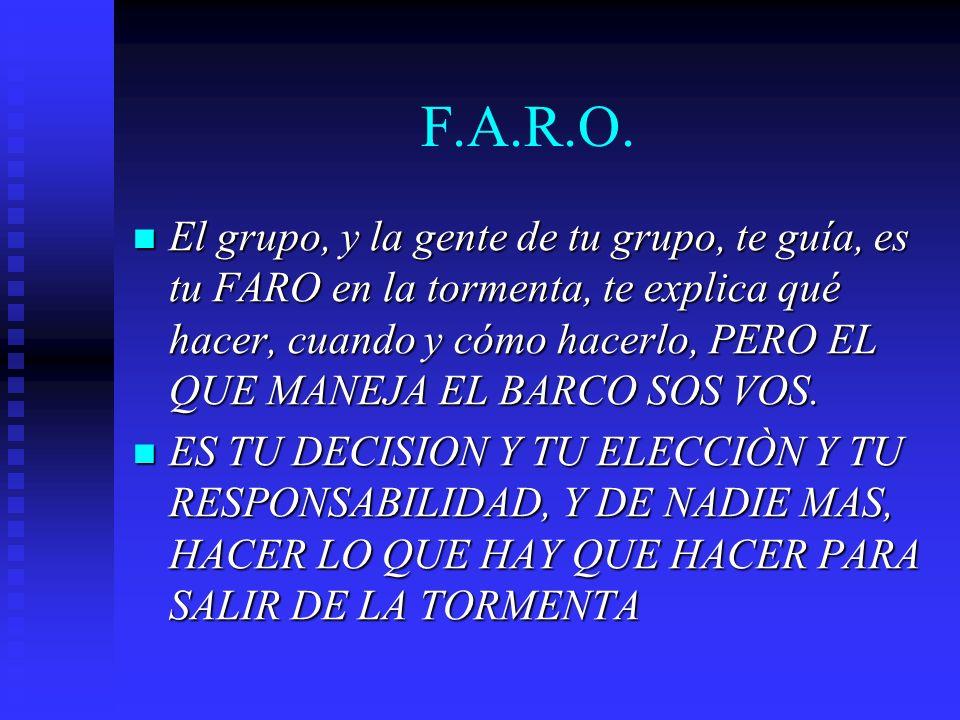 F.A.R.O. El grupo, y la gente de tu grupo, te guía, es tu FARO en la tormenta, te explica qué hacer, cuando y cómo hacerlo, PERO EL QUE MANEJA EL BARC