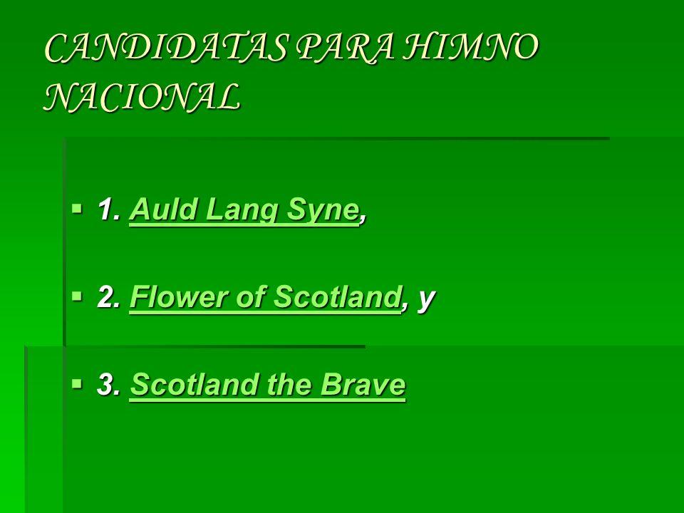 Escocia no tiene un Himno Nacional legalmente reconocido; como resultado Escocia utiliza una variedad de composiciones En diferentes clases de eventos