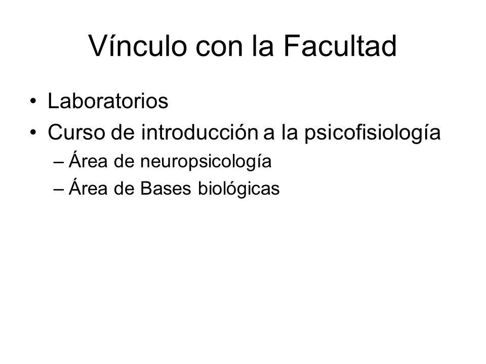 Vínculo con la Facultad Laboratorios Curso de introducción a la psicofisiología –Área de neuropsicología –Área de Bases biológicas