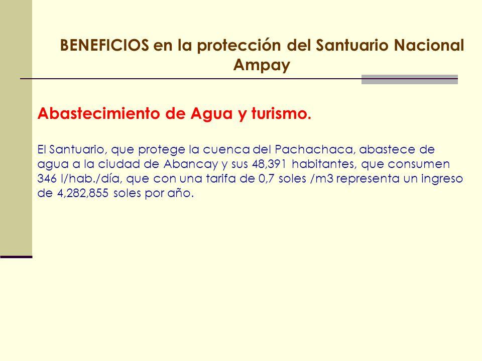 Abastecimiento de Agua y turismo. El Santuario, que protege la cuenca del Pachachaca, abastece de agua a la ciudad de Abancay y sus 48,391 habitantes,