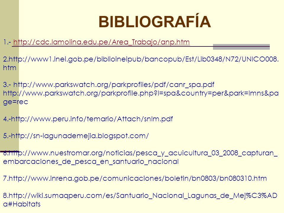 BIBLIOGRAFÍA 1.- http://cdc.lamolina.edu.pe/Area_Trabajo/anp.htmhttp://cdc.lamolina.edu.pe/Area_Trabajo/anp.htm 2.http://www1.inei.gob.pe/biblioineipu