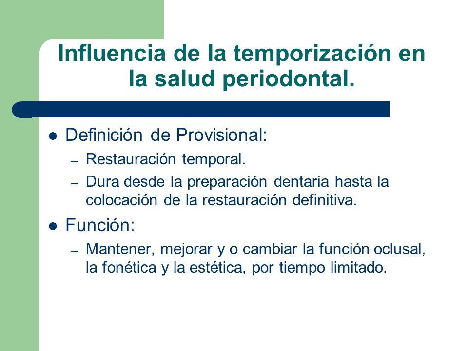 Influencia de la temporización en la salud periodontal. Definición de Provisional: – Restauración temporal. – Dura desde la preparación dentaria hasta