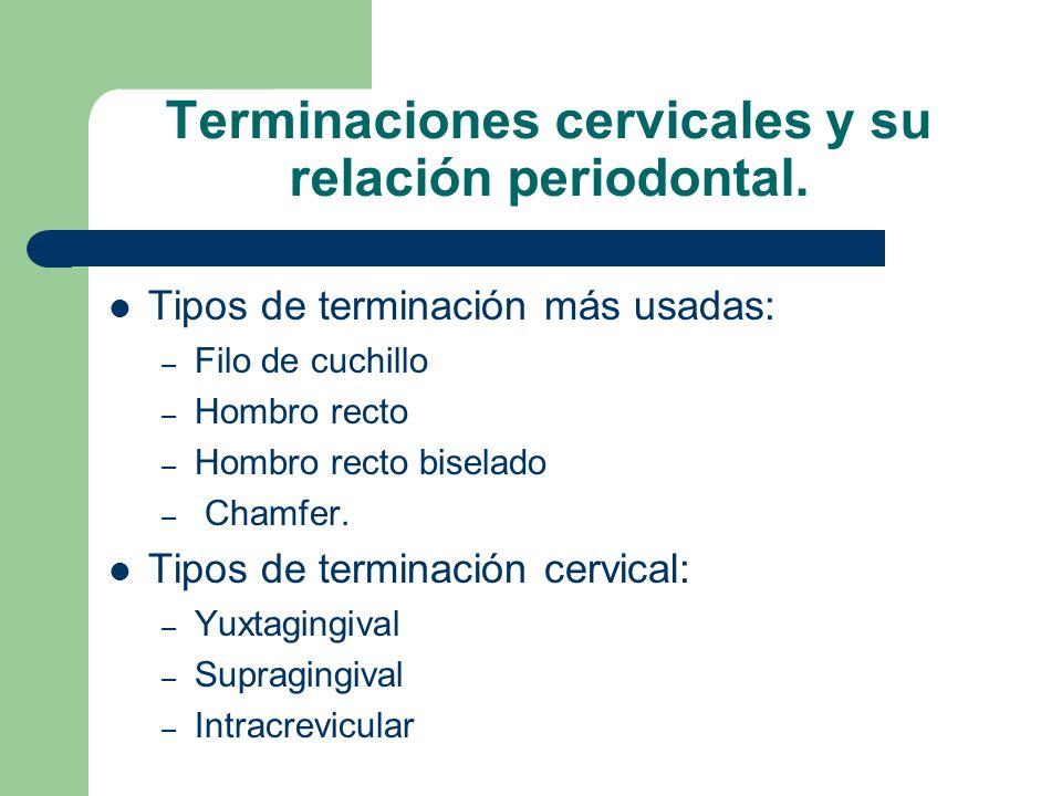 Terminaciones cervicales y su relación periodontal. Tipos de terminación más usadas: – Filo de cuchillo – Hombro recto – Hombro recto biselado – Chamf