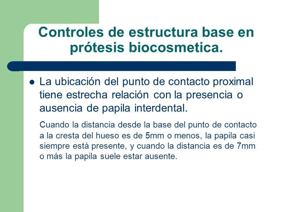 Controles de estructura base en prótesis biocosmetica. La ubicación del punto de contacto proximal tiene estrecha relación con la presencia o ausencia