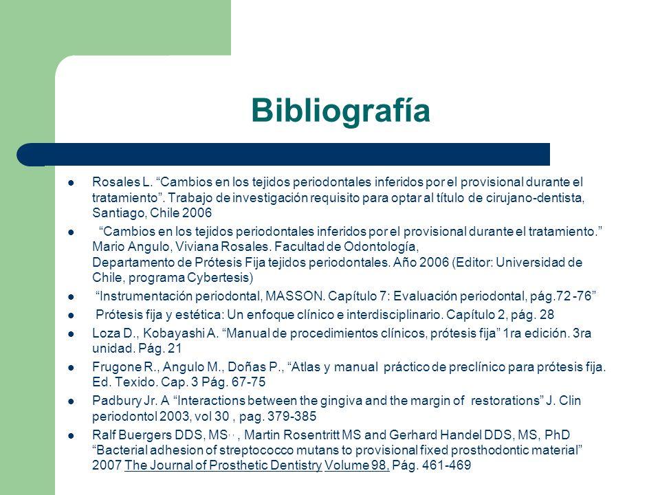 Bibliografía Rosales L. Cambios en los tejidos periodontales inferidos por el provisional durante el tratamiento. Trabajo de investigación requisito p