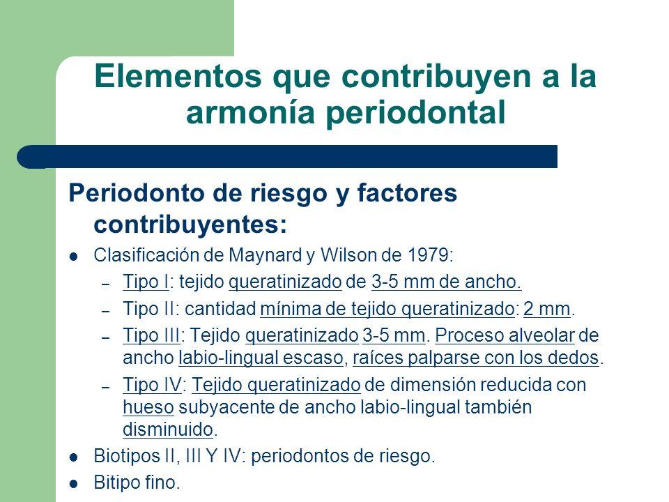 Elementos que contribuyen a la armonía periodontal Periodonto de riesgo y factores contribuyentes: Clasificación de Maynard y Wilson de 1979: – Tipo I: tejido queratinizado de 3-5 mm de ancho.