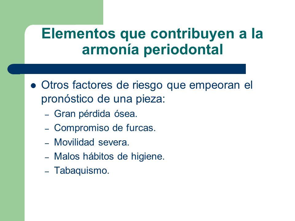 Elementos que contribuyen a la armonía periodontal Otros factores de riesgo que empeoran el pronóstico de una pieza: – Gran pérdida ósea.