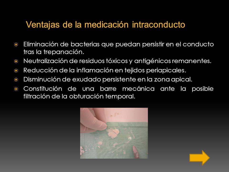 Eliminación de bacterias que puedan persistir en el conducto tras la trepanación. Neutralización de residuos tóxicos y antigénicos remanentes. Reducci